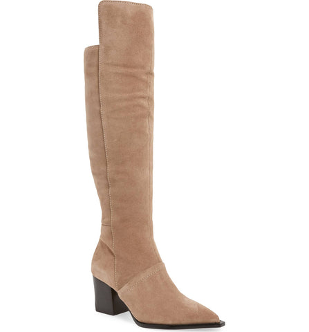 Lust For Life Tania High Boot Taupe Suede Over The Knee Block Heel Dress Boots