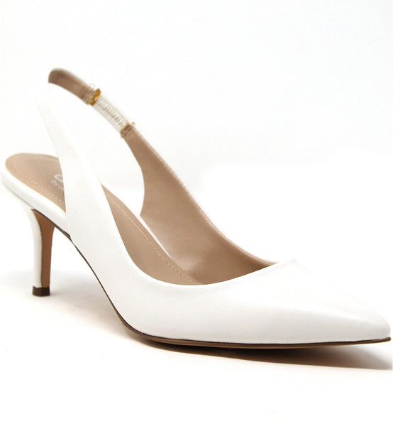 Charles by Charles David Amy White Slingback Low-Heel Classic Pump Shoes