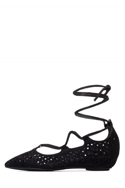 Jeffery Campbell Atsuko Cut Black Circle Cut Suede Wrap Tie Up Pointed Toe Flats