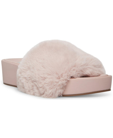 Steve Madden Women's Randela Faux-Fur Slip-on Flatform Slides BLUSH MULT