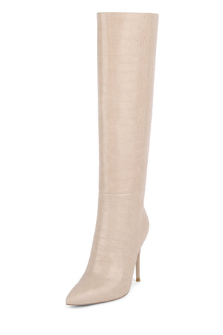 Jeffrey Campbell ARSEN-HI Stiletto Knee High Boot Taupe Croco Nude Dress Boots