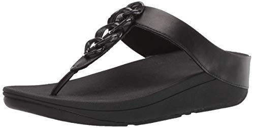 FitFlop Women's FINO Chain Flip-Flop Black Leather Wedge Platform Sandals