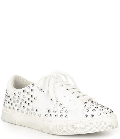 Steve Madden Women's Riled Round-Toe Lace Up Studded Sneakers WHITE MULTI