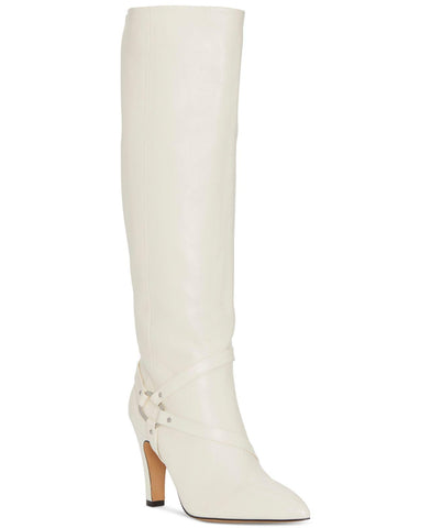 Vince Camuto Charmina Pointed Toe Warm Winter White Leather Knee High Boot
