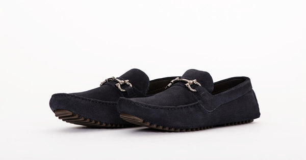 Pair Of Kings Top Kicker Mens Mare Navy Suede Leather Moccasins Loafers