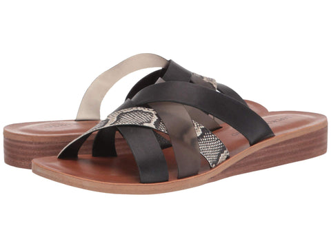 Lucky Brand Women's Hallisa  Multi Band Slide Flat Sandal BLACK/SMOKE