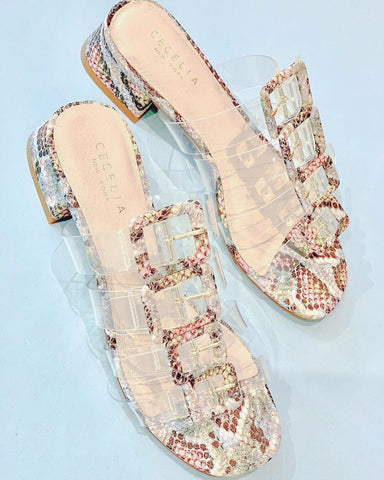 Cecelia New York Lincoln Slide Sandal Rainbow Slip On Clear Transparent Mule