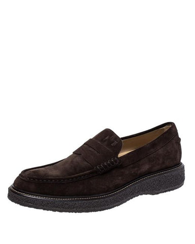 Tod's Men's Brown Suede Leather Penny Loafers