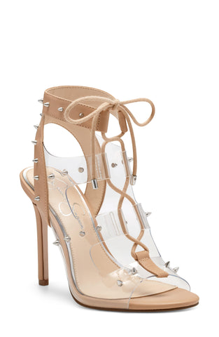 Jessica Simpson Jirven Ankle Strap High Heeled Sandal Clear Nude Tie Up Pumps