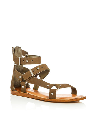 1.State Channdra Grasshopper Green Leather Studded Flat Buckle Chic Sandals