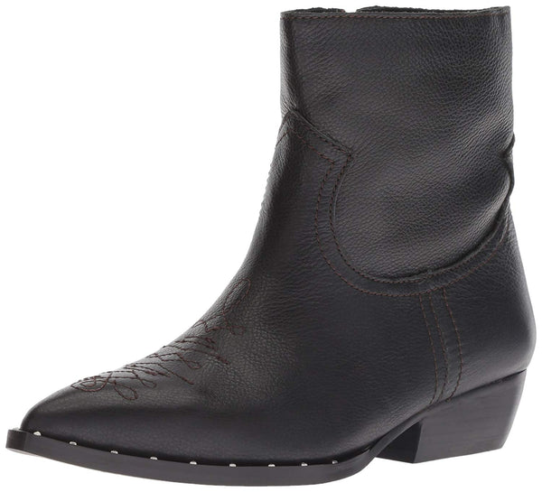 Sam Edelman Women's Ava Black Leather Western Style Side Zipper Ankle Boot