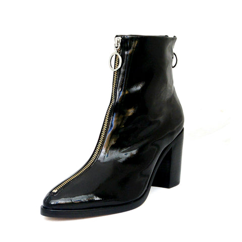 Schutz Agatha Black Patent Leather Pointed Toe Edgy Designer Ankle Nyra Bootie