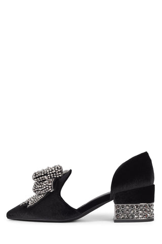 Jeffrey Campbell Valenti-J Embellished Bow Loafer Pointed Toe Pump BLACK VELVET