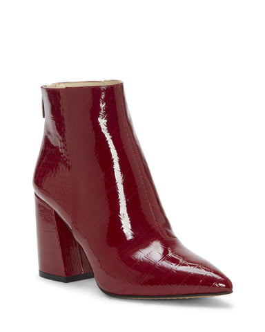 Vince Camuto Benedie Wine Burgundy Patent Leather Pointed Toe Ankle Bootie