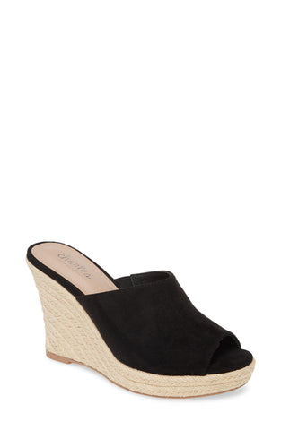 Charles David Lawrence Espadrille Wedge Sandal Black High Platform Open Toe Mule