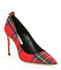 Brian Atwood VOYAGE Pointed Toe Plaid High-Heel Pumps, Red Multi