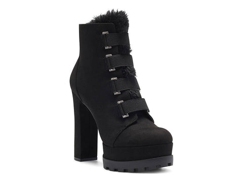 Jessica Simpson IRRENA2 Platform Combat Fashion Boot Black Suede High Platform Boots