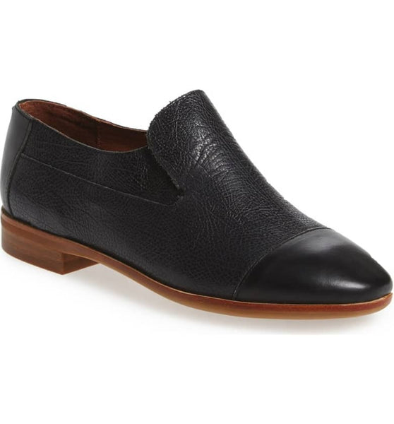 Jeffrey Campbell Bryant Black Pebble Cap Toe Loafers