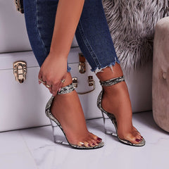 Cape Robbin Magnetic Lace Up Perspex Wedge Heel Nude Snake Clear Sandals