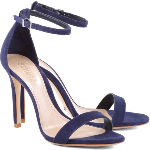 Schutz Cadey-Lee Night Blue Navy Chic Two-Piece Ankle Strap Dress Sandal (9.5)