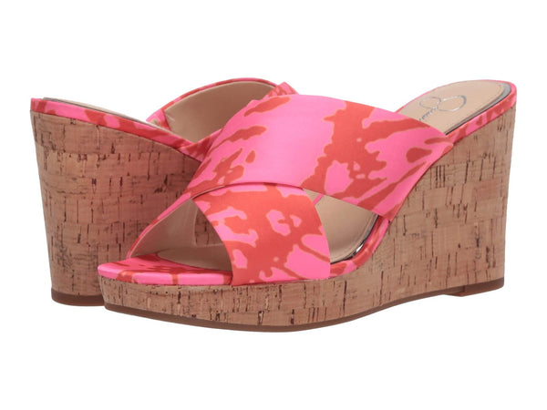 Jessica Simpson Women's Seena Slide Wedge Slip on Sandal NEON PINK COMBO