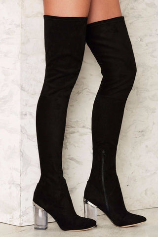 Lust For Life Fiftyfour Over the Knee Thigh High Stretch Suede Fitted Boots