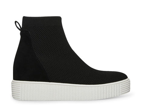 Steven By Steve Madden Cathay Black Knit High Top Wedge Sneakers