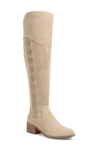 Vince Camuto Women's KREESELL Over The Knee Riding Boot TAUPE NOTCH