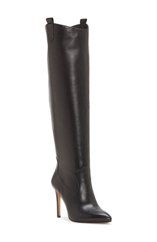 Vince Camuto Kervana Black Smooth Leather HIgh Heel Pointed Knee Boot