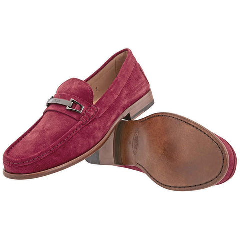 Tod's Men's MOCASSINO Gommino Moccasins Loafers Shoes, PORPORA Red Suede