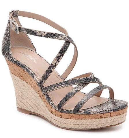 Charles David LEAWOOD Wedge Sandal In NUDE MULTI Snake Cork Platfrom