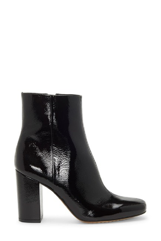 Vince Camuto Dannia Black Patent Square toe Leather Square-Toe Booties