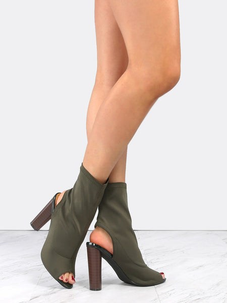 Cape Robbin Connie-3 OLIVE Peep Toe Lycra Elastic Pull On Block Heel Ankle Boot