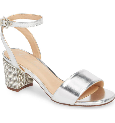 Lauren Lorraine Jamie Sandal Silver Low Block Heel Open Toe Formal Pumps