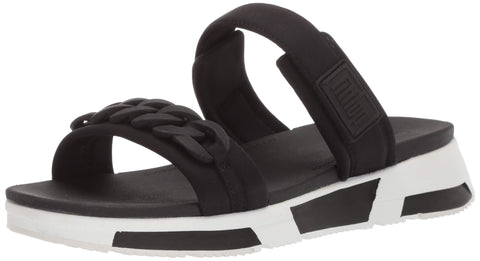 FitFlop Women's Heda Sport Slide-Chain Sandal Black Slip On Mule