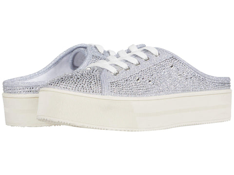 Jessica Simpson Women's Eyden Crystal-Embellished lace-up Mules Sneaker SILVER