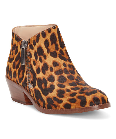 1.State Rosita Leather Boot Brown Multi Leopard Low Cut Designer Ankle Bootie