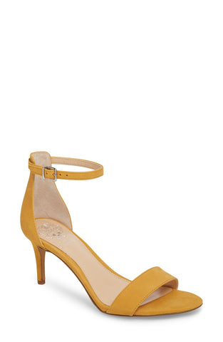Vince Camuto Sebatani Ankle Strap Dress Heel Sandals MUSTARD YELLOW