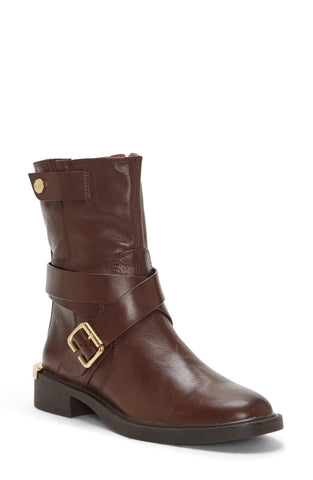 Louise et Cie Tandy Moto Round Toe Block Heel Boot BURNT Oak Brown Mid Calf
