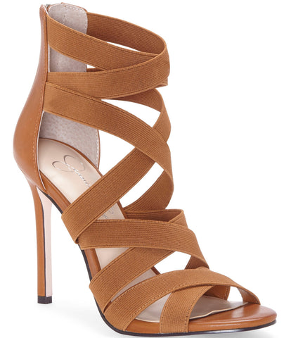 Jessica Simpson Women's Jyra Strappy Stiletto Heeled Sandal ARTISAN BROWN
