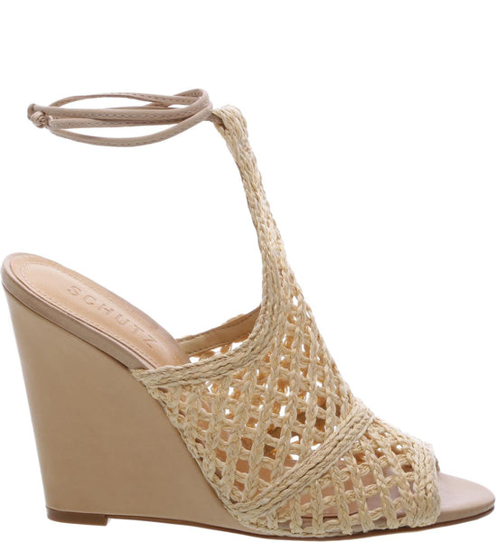 Schutz Jamira Palha Nude Beige Open Toe Mid Wedge Tie Up Sandals