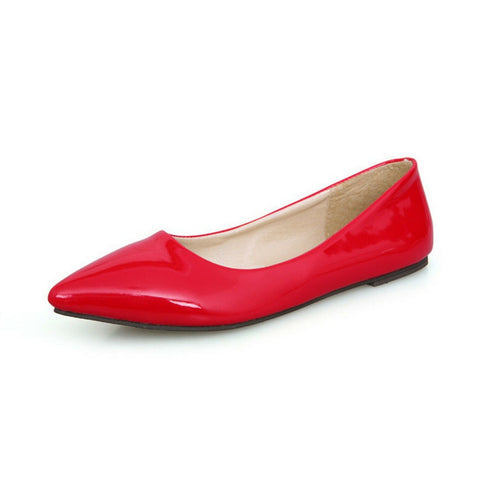 Bella Marie Angie 51-s Patent Vegan Leather Pointed Toe Ballet Flats