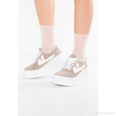 Jeffrey Campbell TWENTY-ONE Platform Sneaker-Taupe Lace Up Wedge