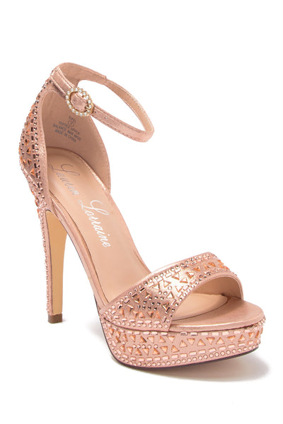 Lauren Lorraine Eifel Stiletto Rose Gold Open High Ankle Strap Sandal