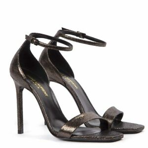 Saint Laurent Amber Astrap Sandals Black Metallic High Heel Two Piece Pump
