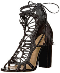 Schutz Dubai Black Leather Gladiator Thick Heel Strappy Ankle Tassel Sandals
