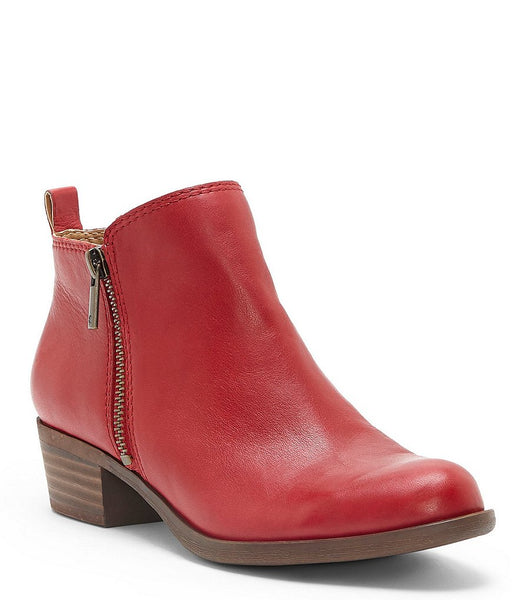 Lucky Brand Basel Wide Width Smooth Leather Zip Booties Garnet Red
