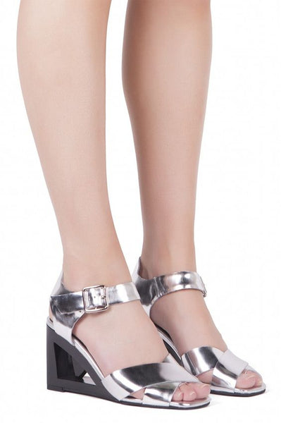 Jeffrey Campbell ALLUDE Silver Open Toe Wedge Sandals