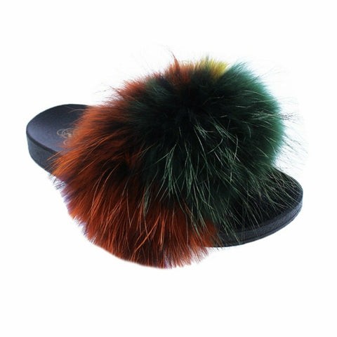 Liliana Nomi-17 Multi Luxury Raccon Fur Slippers Slides Flat Soft Mule