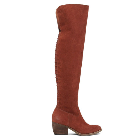 Lucky Black Lk-Khlonn Slouch Boot, Russet Over The Knee Suede Boots